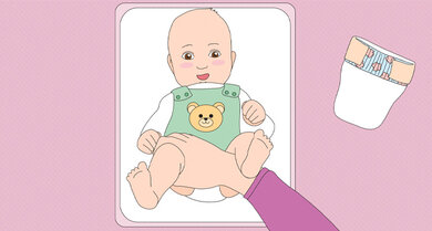 Der richtige Griff zum Wickeln: Den gegenüberliegenden Oberschenkel des Babys fassen, das andere Bein liegt auf dem Unterarm