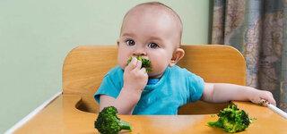 Baby isst Brokkoli