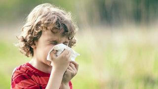 Kind putzt sich die Nase