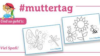 Postkarten Muttertag - Biene Schmetterling
