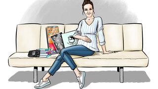 Protagonistin auf der Couch