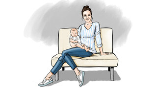 Protagonistin mit Baby