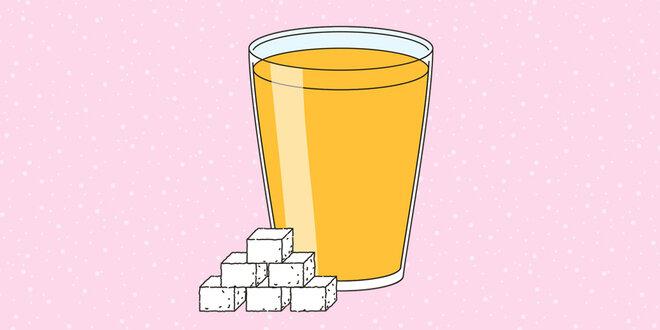 Illustration Orangensaft Zucker