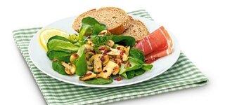 Feldsalat mit gerösteten Champignons