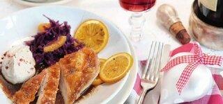 Orangen-Hähnchenbrust mit Maronenpüree und Rotkraut
