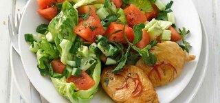 Chili-Steaks mit Melonensalat