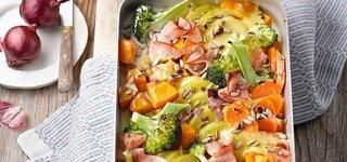 Gemüse-Schinken-Gratin