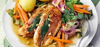 Hähnchen-Saltimbocca mit Mangold-Möhren-Gemüse