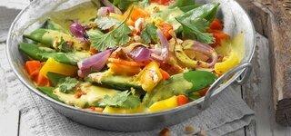 Indisches Curry-Gemüse mit Weizen