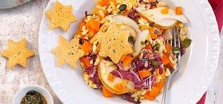 Birnen-Kürbis-Risotto mit Käse-Sternen