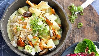 Tofupilze-Ragout mit Birnenreis