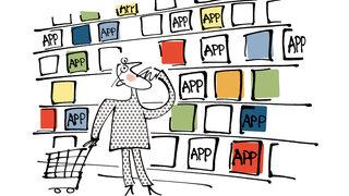 Illustration: Mann beim Einkaufen im App-Store