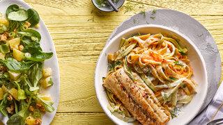 Meerrettich-Gemüse-Pasta mit Zanderfilet