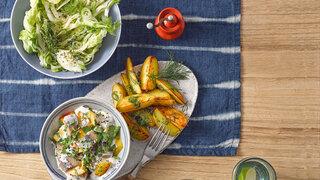 Dillkartoffeln mit Matjes-Stippe und grünem Salat