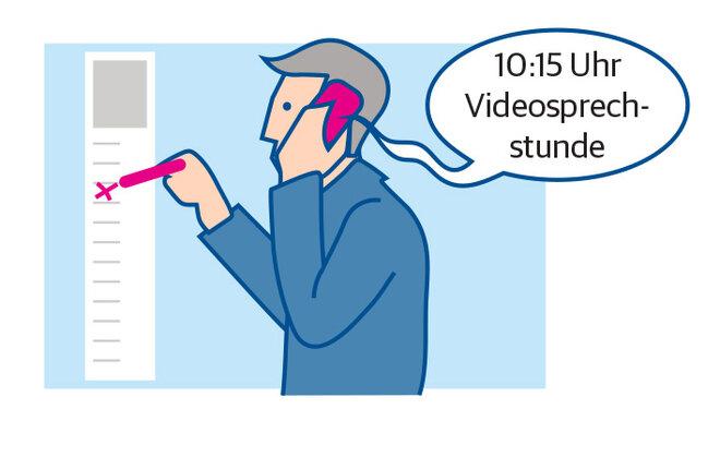 Illustration Mann Termin Videosprechstunde