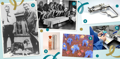 1. Die Insulinentdecker Banting (rechts) und Best (links) mit einem Versuchshund (Toronto, 1921) / 2. Mädchen mit Typ-1-Diabetes lernen, sich Insulin zu spritzen (England, ca. 1946) / 3. Insulinfläschchen mit Transportschutz (20er-Jahre) / 4. Spritzpistole, geladen mit einer Glasspritze (England, ca. 1935) / 5. Insulinwirkung: Insulin (orange) dockt an Rezeptoren (blau) der Zellwand. Das aktiviert Glukose- transporter (rot), die den Zucker (gelb) in die Zelle holen / 6. Qualitätskontrolle bei der Herstellung von Fertigpens