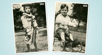 links: Teddy Ryder vor der Insulinbehandlung im Juli 1922, der 5-Jährige wog 12 Kilo; rechts: Teddy ein Jahr später. Es geht ihm gut, er schreibt Banting mehrere Dankesbriefe