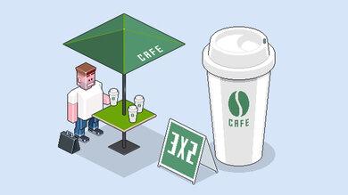 Auf dem Weg zur Arbeit schnell einen großen Becher Kaffee auf die Hand. Mit ordentlich viel Milch und Zucker. Zweites Frühstück!