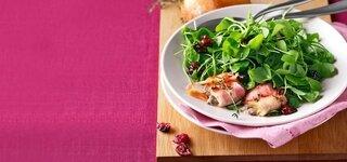 Postelein-Salat mit Bacon-Käse-Talern