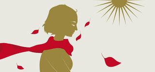 Illustration: Frau umgeben von Blättern im Wind