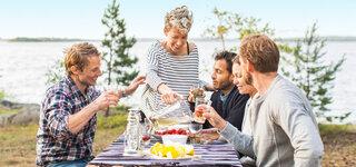 Gartenfest-Feiern-Grupe-See