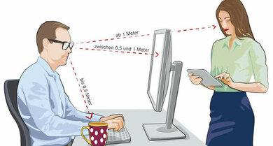 Um die Augen am Arbeitsplatz zu schonen, lohnt sich eine spezielle Bildschrimbrille.