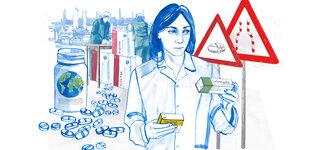 Illustration Zeichnung Apothekerin Tabletten Verpackung