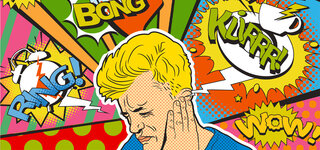 Comic: Mann mit Tinnitus