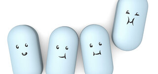 Tabletten mit dicken Gesichtern