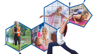 Composing aus Laufen, Yoga, Hantel-Training, Gymnastik und Fitness