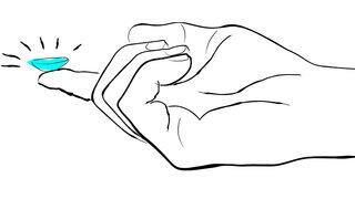 Illustration: Kontaktlinse auf einem Finger liegend