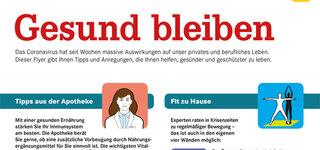 Info-Flyer über Corona mit Tipps zum Gesund bleiben in deutscher Sprache