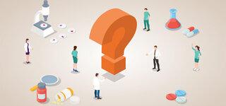 Coronavirus Fragezeichen Symbol Menschen Medizin Forschung Wissen Illustration Gezeichnet