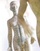 Akupunktur-Puppe mit aufgezeichneten Meridianen