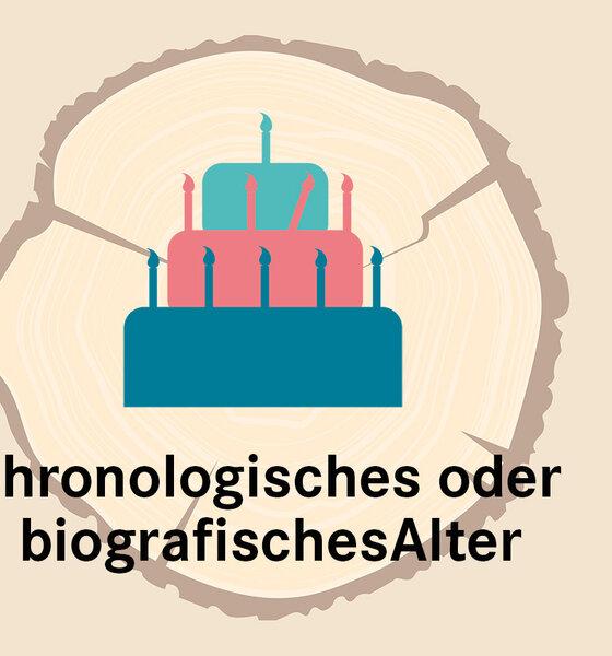 Infografik Baumscheibe chronologisches biografisches Alter