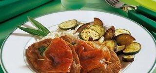 Saltimbocca mit mediterranem Gemüse und Reis