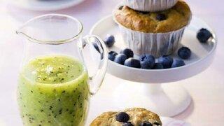 Heidelbeer-Muffins mit Kiwi-Soße