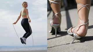 Frau beim Seilspringen, Frau die mit High-Heels umknickt