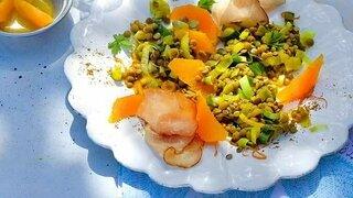 Berglinsen-Salat mit Orangen-Dressing