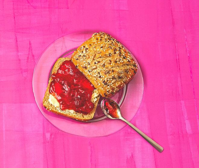 Versteckter Zucker Marmelade Brötchen