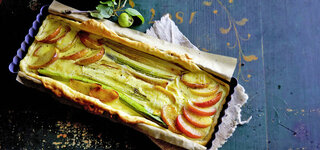 Apfel-Lauch-Kuchen mit Räucherschinken
