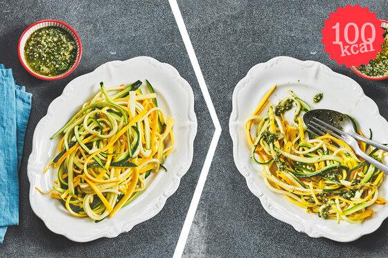 Composing: Zucchini-Nudeln, vorher-nachher (100 Kalorien)