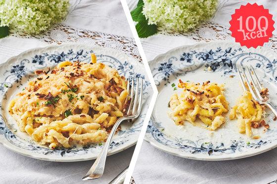 Composing: Käsespätzle, vorher-nachher (100 Kalorien)