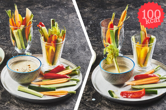 Composing: Gemüsesticks mit Dip, vorher-nachher (100 Kalorien)