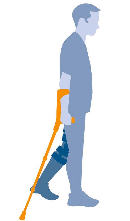 Illustration Mann mit Gehhilfe 3