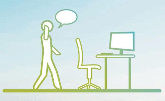 Infografik: Mehr Bewegung am Arbeitsplatz/im Büro