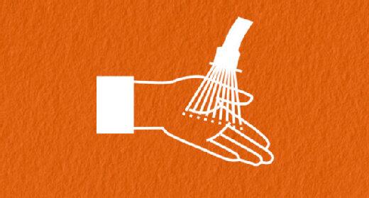 Infografik Hände mit Wasser kühlen