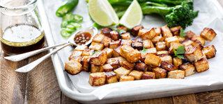 Vegan Sojaprodukte Tofu Würfel Limette Lebensstil Bohne