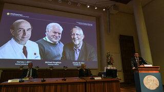 Nobelpreisträger Hepatitis C American Harvey Alter, Briton Michael Houghton and American Charles Rice