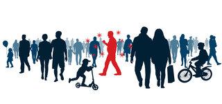 Die drei haupttreiber der Pandemie Menschen viele Menschenmenge Begegnung Superspreader Virus Übertragung zufällig